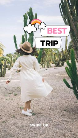 Template di design Trips Promotion with Woman in Straw Hat Instagram Story