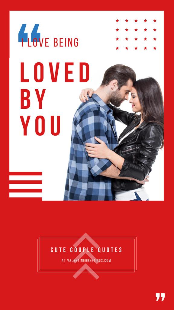 Plantilla de diseño de Attractive Lovers hugging on Valentines Day Instagram Story