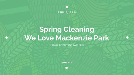 Spring Cleaning Event Invitation Green Floral Texture Title Design Template