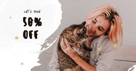 Plantilla de diseño de Girl hugging Cat at home Facebook AD