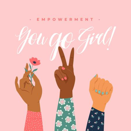 Girl Power Inspiration with Diverse Women's Hands Instagramデザインテンプレート