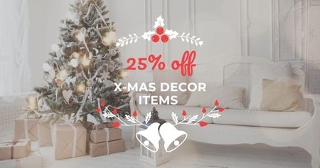 Szablon projektu Christmas Decoration Offer with Gifts under Tree Facebook AD