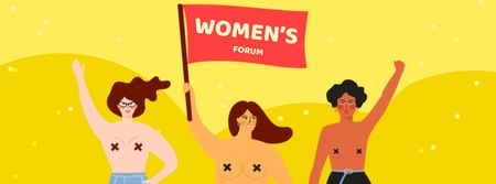 Women's Forum Announcement with Women on Riot Facebook cover Modelo de Design