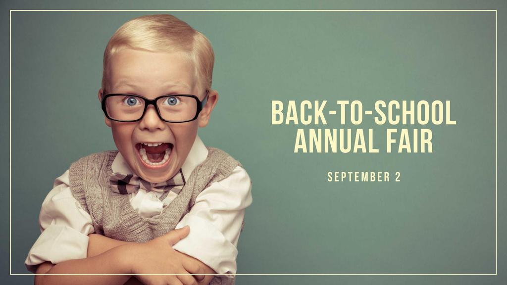 Modèle de visuel Back to School Annual Fair with Funny Pupil - FB event cover