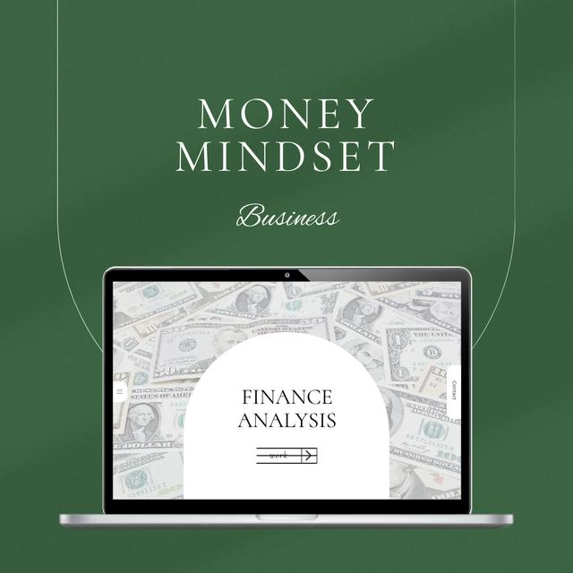 Finance Analysis with Money of laptop screen Instagram Design Template