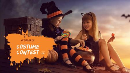 Ontwerpsjabloon van FB event cover van Halloween Costume Contest with Cute Kids