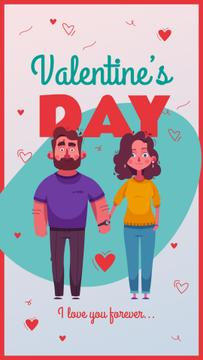 Valentine's Day with Romantic couple holding hands