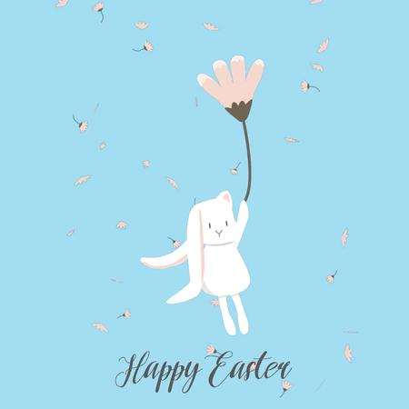 Easter Bunny flying on a flower Animated Postデザインテンプレート