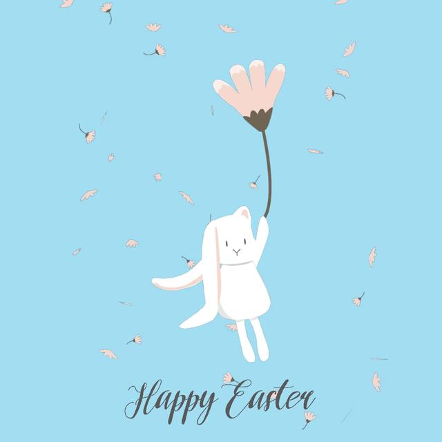 Designvorlage Easter Bunny flying on a flower für Animated Post