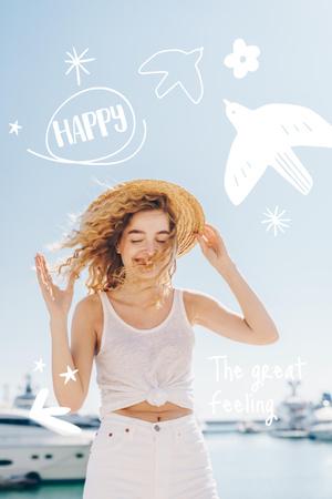 Modèle de visuel Mental Health Inspiration with Happy Woman - Pinterest