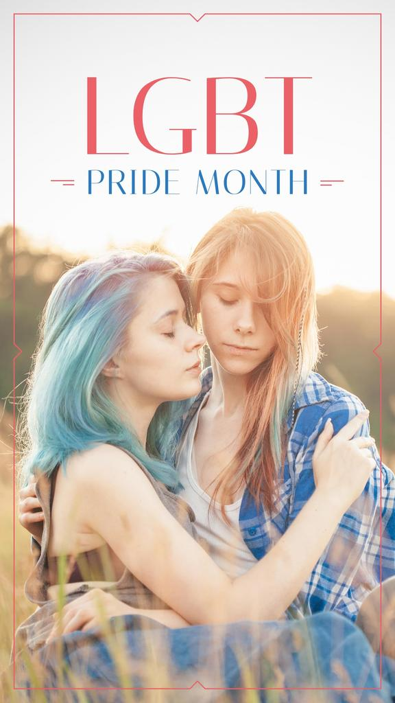 Pride Month with Two women hugging — ein Design erstellen
