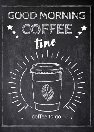 Template di design Coffee time chalk advertisement Invitation