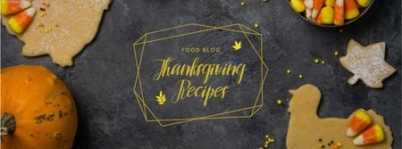 Ontwerpsjabloon van Facebook cover van Thanksgiving Recipes Ad with Pumpkins