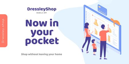 Plantilla de diseño de Online Shop Ad with people choosing things on screen Twitter