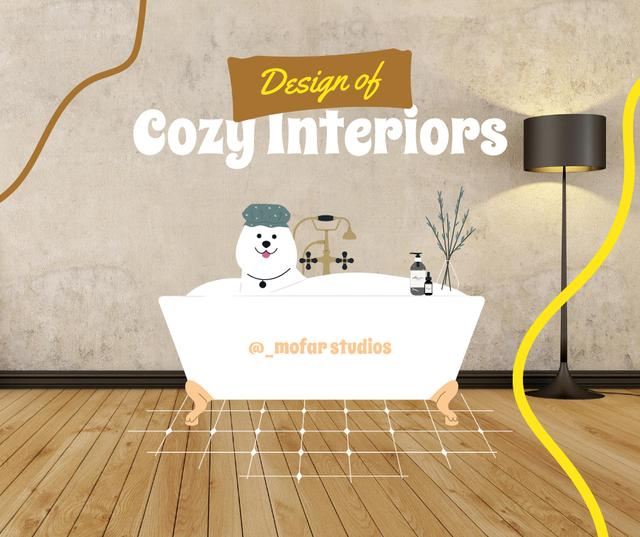 Cozy Interiors Ad with Funny Dog in Bathroom Facebook Design Template