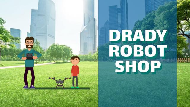 Gadgets Shop Father and Child Launching Drone Full HD video – шаблон для дизайну