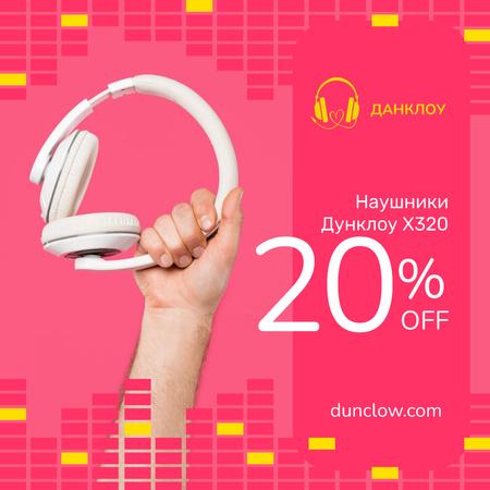 Electronics Offer Hand with Headphones on Pink Instagram AD – шаблон для дизайна