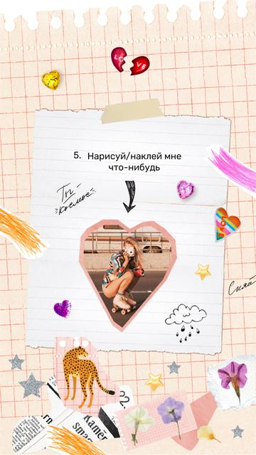 Young Girl on Roller Skates and Cute Stickers on Page Instagram Story – шаблон для дизайна