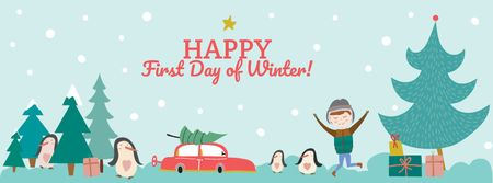 First day of Winter with Happy Kid Facebook cover – шаблон для дизайну