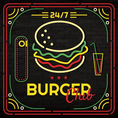 Plantilla de diseño de Burger club Ad Instagram