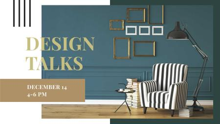 Plantilla de diseño de Design Talks Ad with Stylish Armchair FB event cover