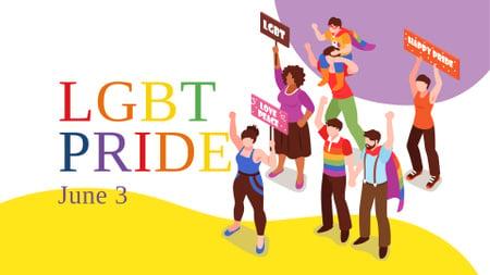 Ontwerpsjabloon van FB event cover van LGBT Pride Announcement with People on Demonstration