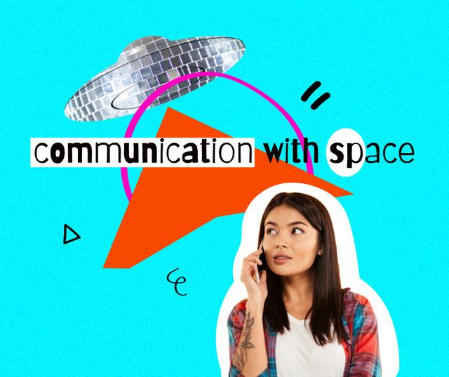 Plantilla de diseño de Funny Illustration of Young Girl communicating with Disco Ufo Facebook