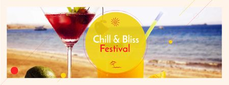 Summer Festival Announcement with Cocktails Facebook cover Modelo de Design