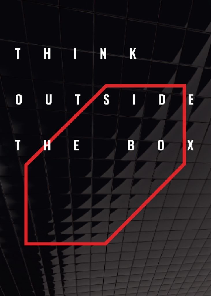 Think outside the box Quote on black tiles Invitation Design Template