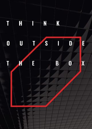 Think outside the box Quote on black tiles Invitation – шаблон для дизайну
