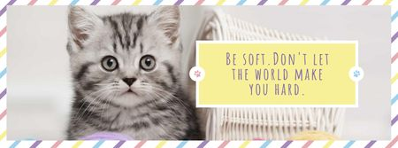 Plantilla de diseño de Cute grey Kitten with quote Facebook cover