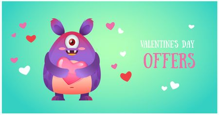 Ontwerpsjabloon van Facebook AD van Valentine's day Offer with Cute Monster