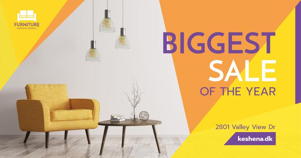 Cozy Home Offer Interior in Yellow Facebook AD Modelo de Design