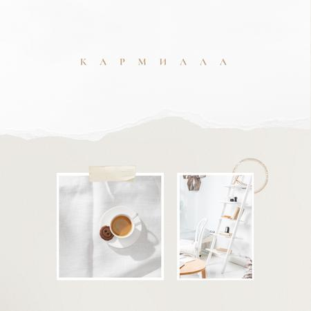 Breakfast in bed with Coffee and cookie Instagram – шаблон для дизайна