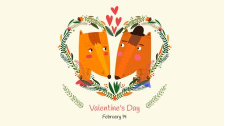 Valentine's Day Greeting with Cute Foxes FB event cover Modelo de Design