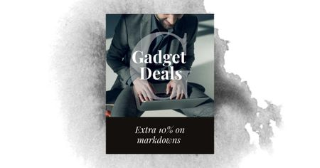 Gadgets Sale with Man working on Laptop Facebook AD Design Template