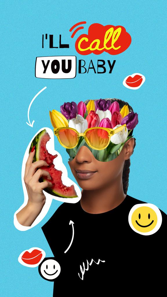 Plantilla de diseño de Funny Woman with Floral Head talking on Watermelon Instagram Story