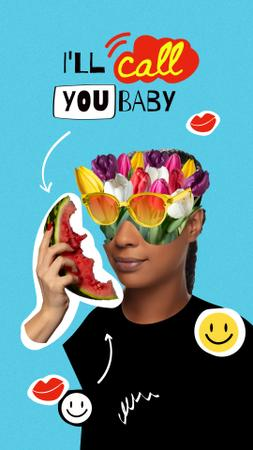 Funny Woman with Floral Head talking on Watermelon Instagram Story Modelo de Design