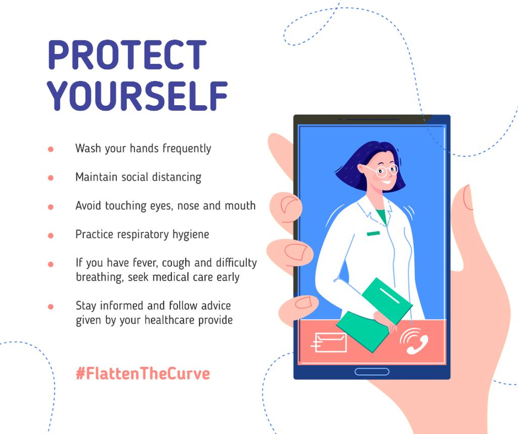 #FlattenTheCurve Preventive Recommendations with Doctor on screen — Crea un design