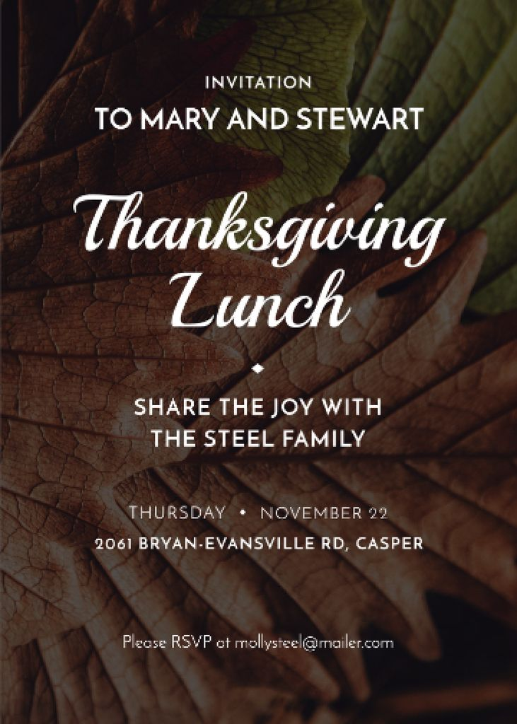 Thanksgiving lunch invitation on Autumn leaves — Modelo de projeto