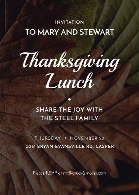 Thanksgiving lunch invitation on Autumn leaves Invitation Tasarım Şablonu