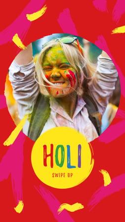 Plantilla de diseño de Holi Festival Announcement with Girl in Paint Instagram Story