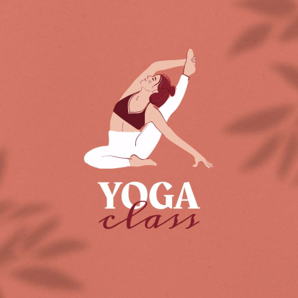 Yoga Class Ad with Woman meditating Logo – шаблон для дизайна