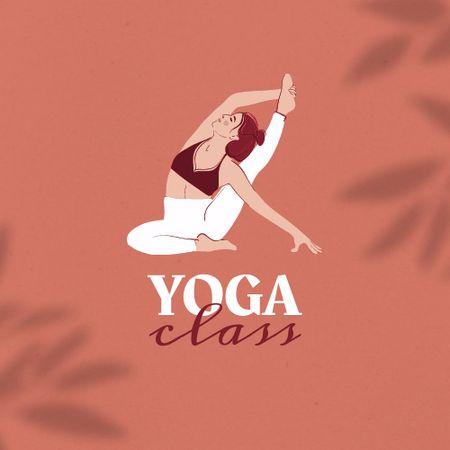 Yoga Class Ad with Woman meditating Logo Modelo de Design