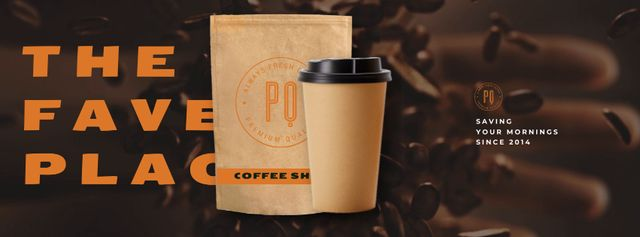 Coffeeshop Ad with Coffee Beans and Cup Facebook Video cover – шаблон для дизайну