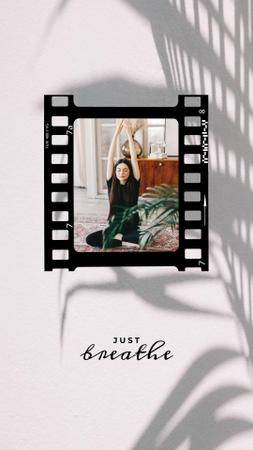 Template di design Woman practicing Yoga at home Instagram Story