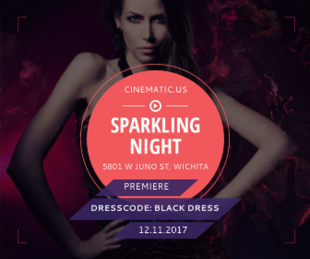 Night Party Invitation Woman in Glamorous Outfit — Crear un diseño