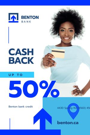 Cashback Service Ad with Woman with Credit Card Pinterest Modelo de Design