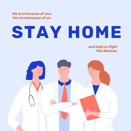 #Stayhome Coronavirus awareness with Doctors team Instagram – шаблон для дизайну