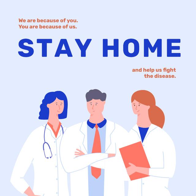 Plantilla de diseño de #Stayhome Coronavirus awareness with Doctors team Instagram